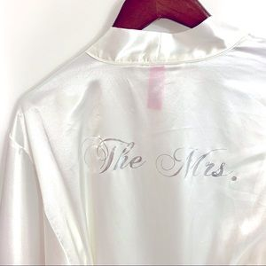 "👰♀️ Short bridal robe | ""The Mrs"" satin sz S/M"